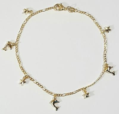 Dolphin and Star Figaro Link Ankle Bracelet 10 inch Long Gold Filled Anklet # 24