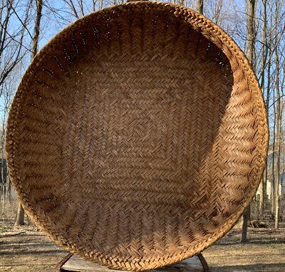 Asian Woven Wicker Bamboo/rattan Winnowing Sorting Basket Tray Wall Deco 31big!