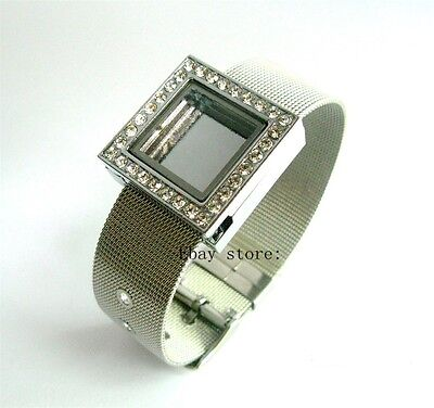 5pcs crystal square Slide Floating Glass Locket +18mm stainless steel wristband