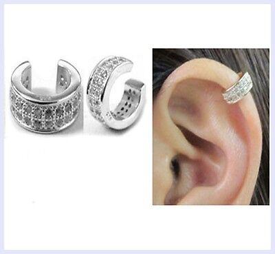 - Rhodium 925 Sterling Silver Round Clear CZ Crystal Clip Cuff Earrings / Ear Cuff