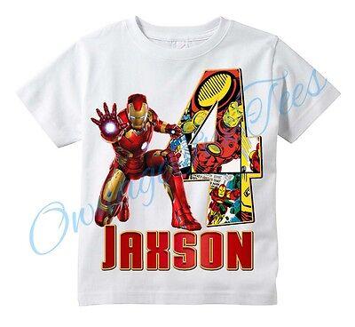 Iron-Man Comic Superhero Custom T-shirt PERSONALIZE tshirt ADD NAME/AGE Iron man