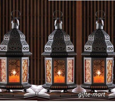 Orange Lanterns (10 bulk black orange Moroccan Candle holder lantern light halloween)