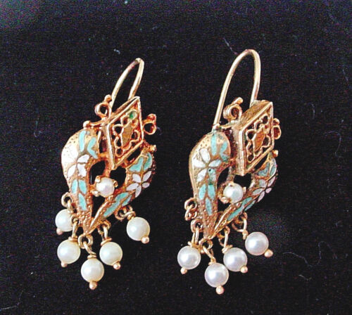 Victorian Enamel & Pearl Drop Dangle Pierced Earrings 14k Yellow Gold