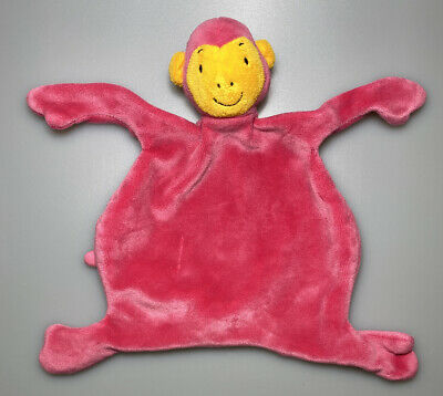 "8"" Baby Monkey Lovey Security Blanket Pink & Orange Doudou Soft Toy Fuchsia"