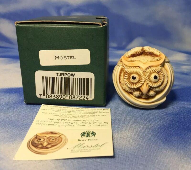 """NEW Retired Harmony Kingdom Roly Polys """"Mostel"""" Owl Box Figurine TJRPOW NIB"""