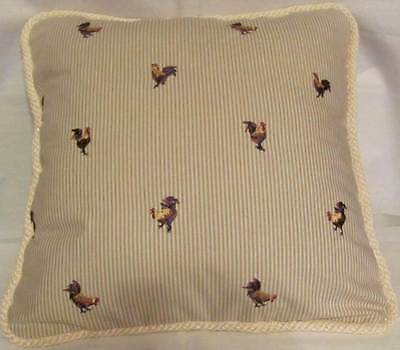 Provence French Countryside Cottage Pillow Hens Rooster Khaki Ivory Buffalo Check