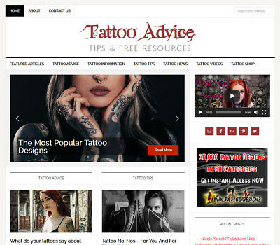 Tattoo Tips Niche Website Business For Sale With Auto Updating Content