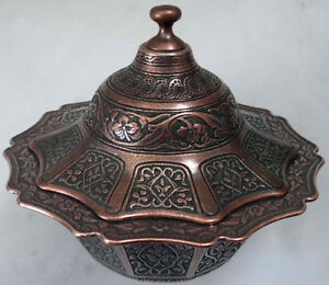 Traditional-Turkish-Ottoman-DELIGHT-CANDY-BOWL-JUNK-FOOD-CASE-Copper-6-colors