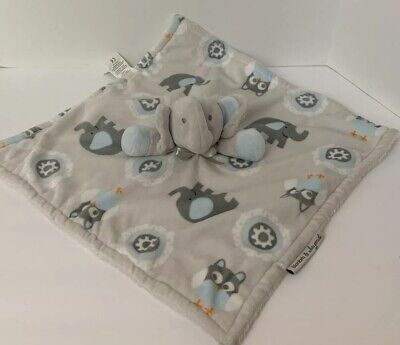 Blankets and Beyond Elephant Blue Gray Baby Boy Plush Security Blanket Lovey