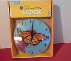 EZ Read Butterfly Decorative Battery Operated Wall Clock NIB 8 dia x 3/4 deep