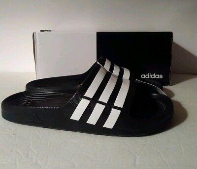 bccd43d6b5e8 Adidas Duramo Slide Sandals - Black White Shower Sandals Men Size 11