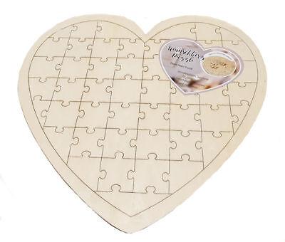 DIY Herz Puzzle 49tlg - Holz Hochzeit Gästebuch - Geburtstagskarte Geschenk Idee