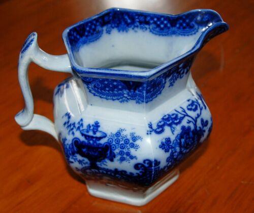 "Excellent & Rare Flow Blue 6 1/2""Serving Pitcher, ""Indian Jar"" Pattern, c. 1845"