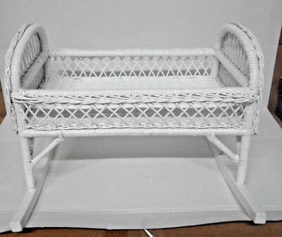 Vintage Style White Baby Doll Bed Wicker Toy Rocking Cradle