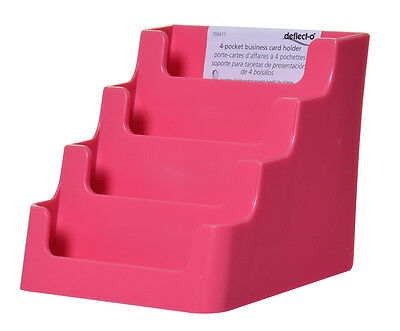 Pink 4 Pocket Desktop Counter Top Business Card Display Holder Organizer Acrylic