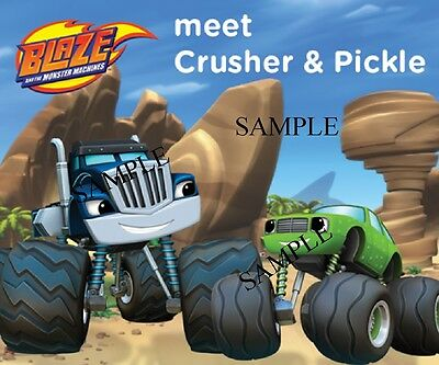 CRUSHER & PICKLE OF BLAZE AND THE MONSTER MACHINES #2 IRON ON TRANSFER