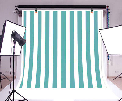 Turquoise Vertical Stripes Photography Backdrop 8x8' Vinyl Birthday Party Banner (Vertical Birthday Banners)