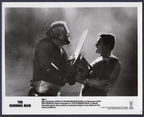 CHAIN SAW scene Gus Rethwisch & Arnold Schwarzenegger RUNNING MAN Orig Photo