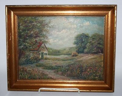 Antique 1920s Impressionist Country Cottage Summer Landscape Oil Painting