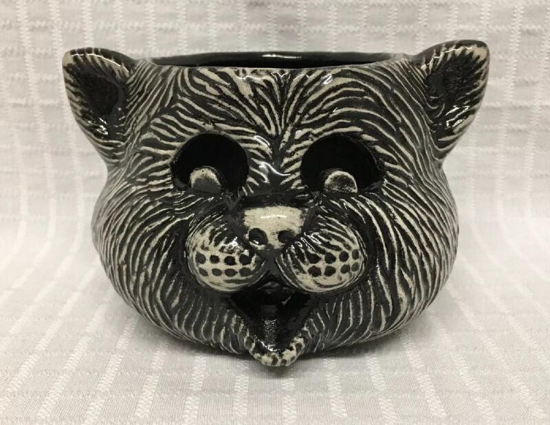 "HTF 5"" Ceramic Black Cat Votive Candle Holder Hollow Head White Halloween Happy"