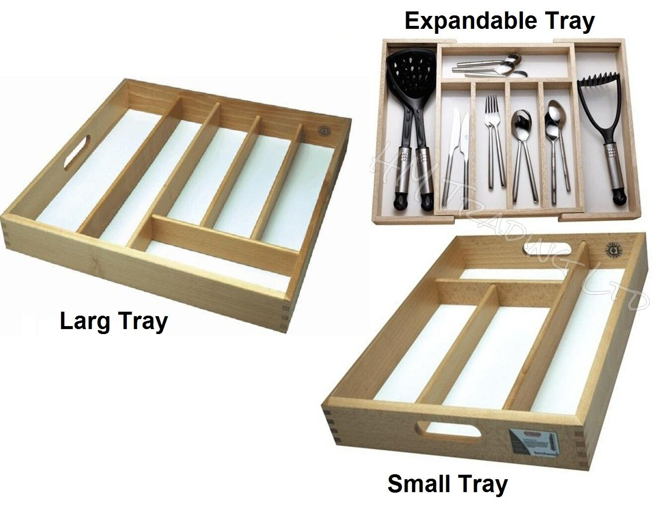 Wooden Small Large Organiser Cutlery Tray Drawer Rack