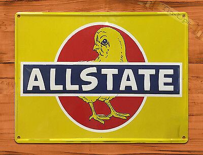 "TIN SIGN ""Allstate Chick"" CHICKEN INSURANCE CAR Wall Decor"