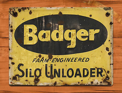 "TIN SIGN ""Badger Silo"" Livestock Farm Feed Barn Garage Ranch Wall Decor"