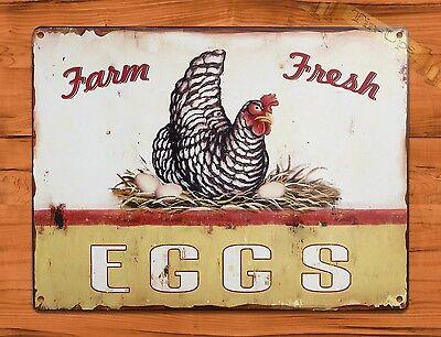 TIN SIGN Farm Fresh Eggs Dairy Rooster Chicken Decor Farm Barn Coop