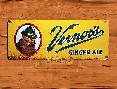 "TIN SIGN ""Vernor's Ginger Ale"" Soda Advertisement Wall Decor"