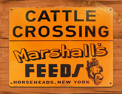 "TIN SIGN ""Cattle Crossing Marshall's"" Feed Horse New York Farm Barn Decor"