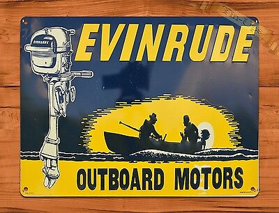 "TIN SIGN ""Evinrude Outboard Motor Boat"" Vintage Garage Repair"