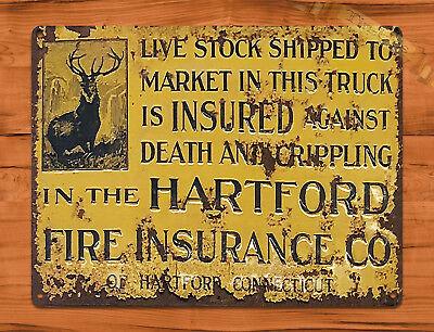 "TIN SIGN ""Hartford Livestock Insurance"" Ranch Farm Barn Cattle Wall Decor"