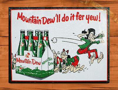 "TIN SIGN ""Mountain Dew Fer You"" Soda Pop Kitchen Rustic Wall Decor"