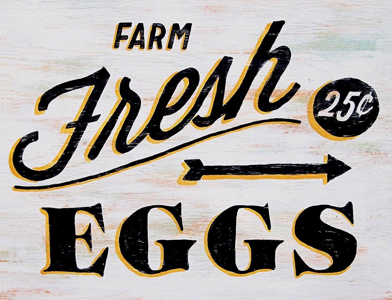 "TIN SIGN /""Farm Fresh Organic Eggs/"" Farm  Art Deco Garage Wall Decor"