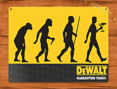 "TIN SIGN ""DeWalt Tools Evolution"" Garage Rustic Wall Decor"