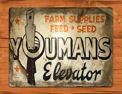 "TIN SIGN ""Youmans Elevator"" Rustic Barn Farm Feed Wall Decor"