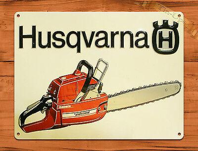 "TIN-UPS TIN SIGN ""Husqvarna Chain Saws"" Vintage Rustic Wall Decor"
