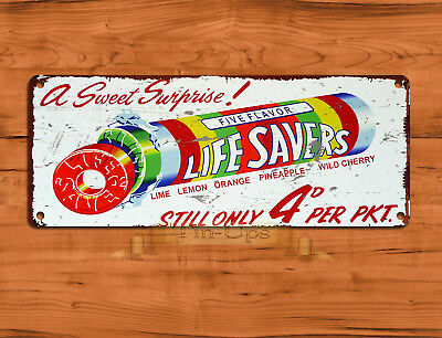 "TIN SIGN ""Life Savers"" Ad Candy Treat Retro Kitchen Wall Decor"