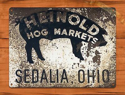 "TIN SIGN ""Heinold Hogs"" Pigs Ohio Ranch Farm Barn Cattle Wall Decor"