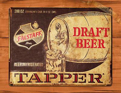 "TIN SIGN ""Falstaff Tapper"" New Orleans Beer Rustic Bar Wall Decor"
