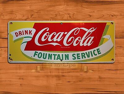 "TIN SIGN ""Coca-cola Fountain"" Cola Soda Pop Rustic Wall Decor"