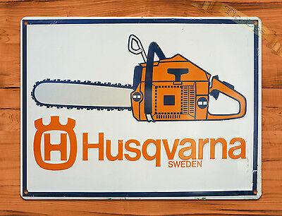 "TIN SIGN ""Husqvarna Orange Chain Saws"" Vintage Rustic Wall Decor"
