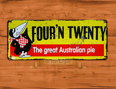 "TIN SIGN ""Four'N Twenty"" Australian Pie Kitchen 420 Advertisement Wall Decor"