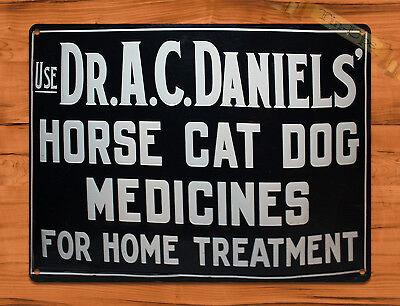 "TIN SIGN ""Dr. Daniels's Medicines"" Horse Cat Dog Home Farm Barn Decor"