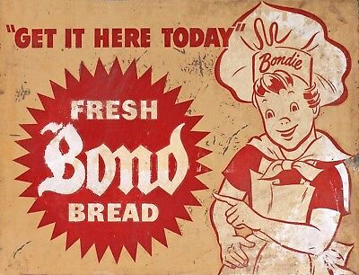 "TIN SIGN /""Fresh Bond Bread/""   Food Vintage    Garage Wall Decor"