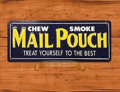 "TIN SIGN ""Mail Pouch Chew"" Tobacco Rustic Advertisement Wall Decor"
