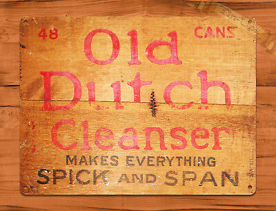 """TIN SIGN """"Old Dutch Cleanser"""" NOT WOOD Crate Rustic Home Kitchen Decor"""