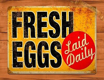 TIN SIGN Fresh Eggs Laid Daily Rooster Chicken Decor Farm Barn Coop Dairy