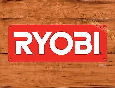"TIN SIGN ""Ryobi Red"" Tools Garage Advertisement Wall Decor"