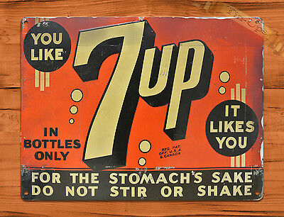 "TIN SIGN ""7-up Likes You"" SODA ORANGE STOMACH Wall Decor"